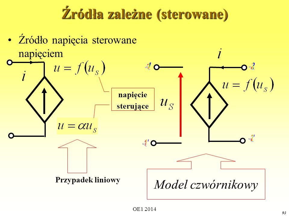 OE1 2014 92 Źródła zależne (sterowane) Źródło napięcia sterowane prądem Prąd sterujący Model czwórnikowy Przypadek liniowy
