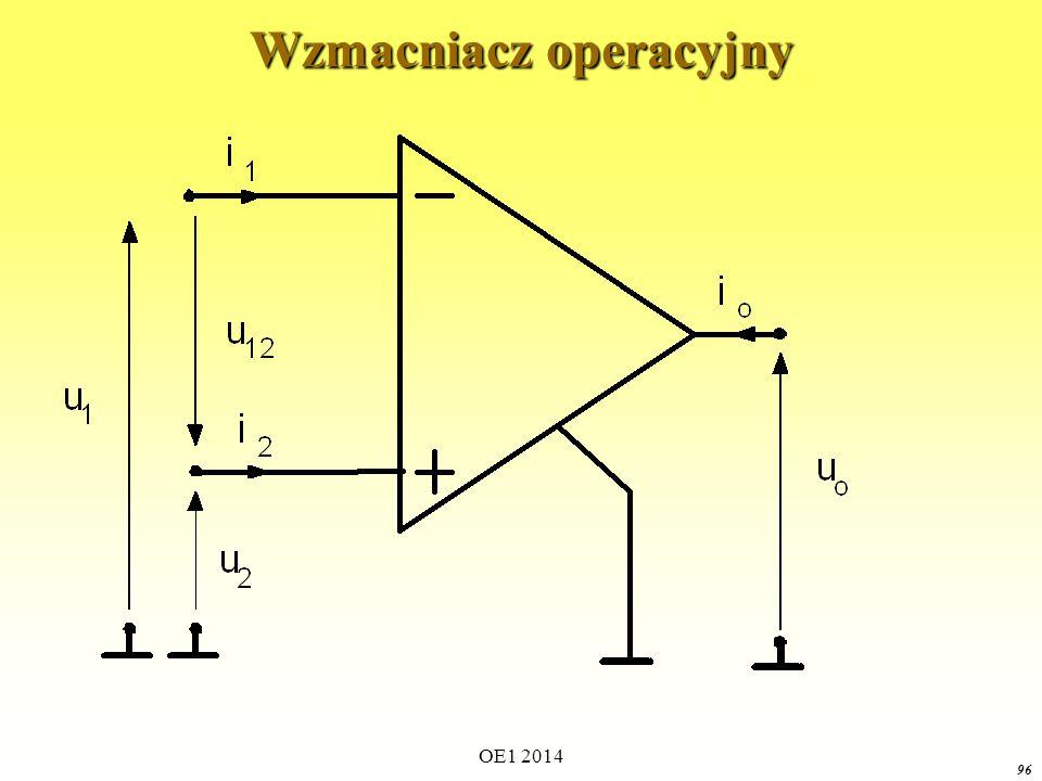 OE1 2014 95 Źródła zależne (sterowane) Źródło prądu sterowane napięciem napięcie sterujące Model czwórnikowy Przypadek liniowy
