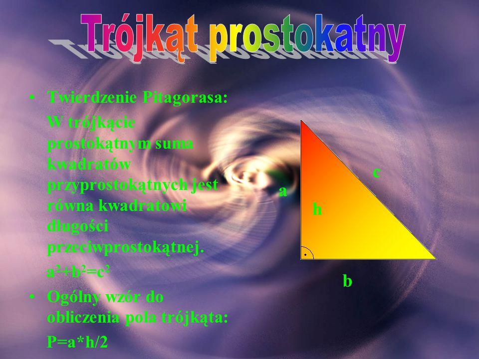 Suma miar kątów trójkąta wynosi 180 o. α+β+γ=180 o Każdy bok trójkąta ma długość mniejszą od sumy długości dwóch pozostałych boków. a<b+c b<a+c c<a+b