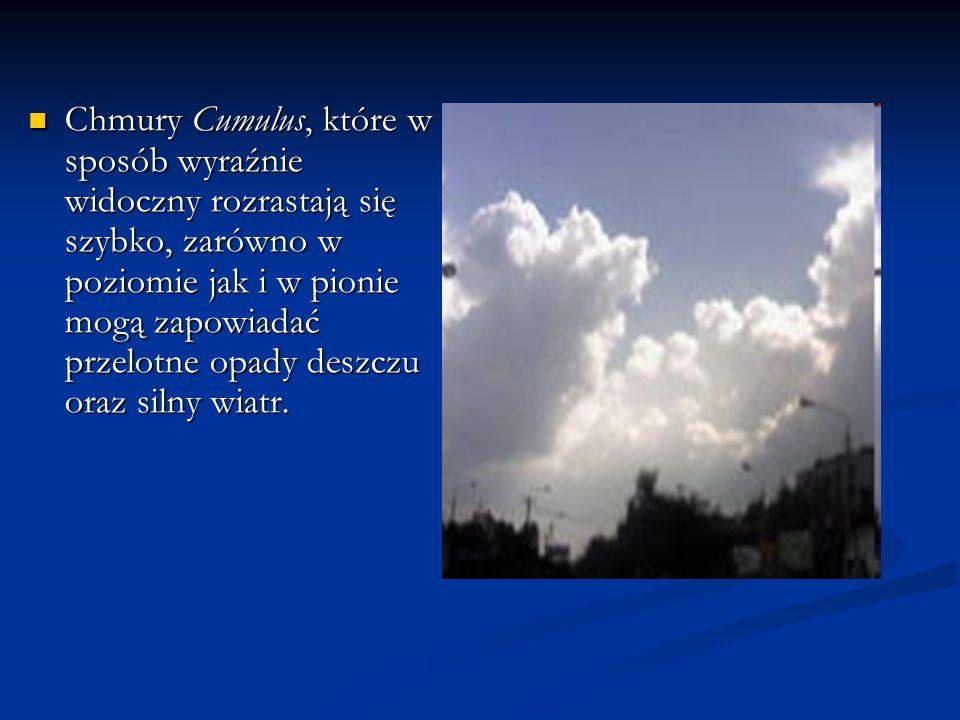 Chmury Cumulus, które w sposób wyraźnie widoczny rozrastają się szybko, zarówno w poziomie jak i w pionie mogą zapowiadać przelotne opady deszczu oraz