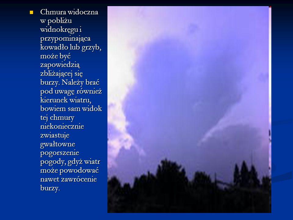 Chmura widoczna w pobliżu widnokręgu i przypominająca kowadło lub grzyb, może być zapowiedzią zbliżającej się burzy. Należy brać pod uwagę również kie