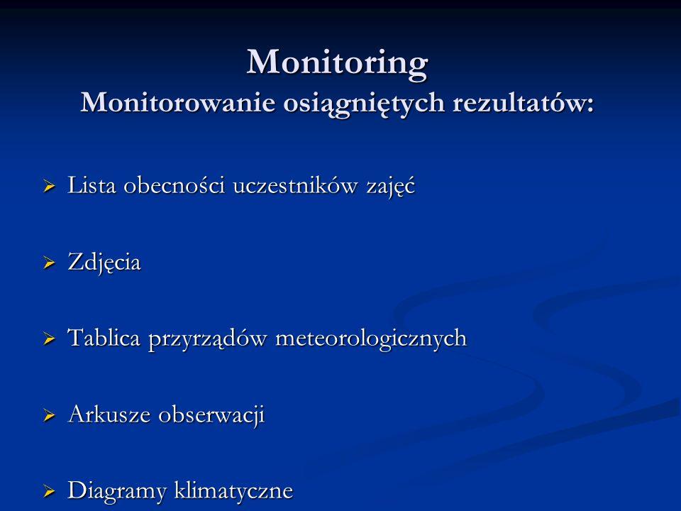 Monitoring Monitorowanie osiągniętych rezultatów:  Lista obecności uczestników zajęć  Zdjęcia  Tablica przyrządów meteorologicznych  Arkusze obser