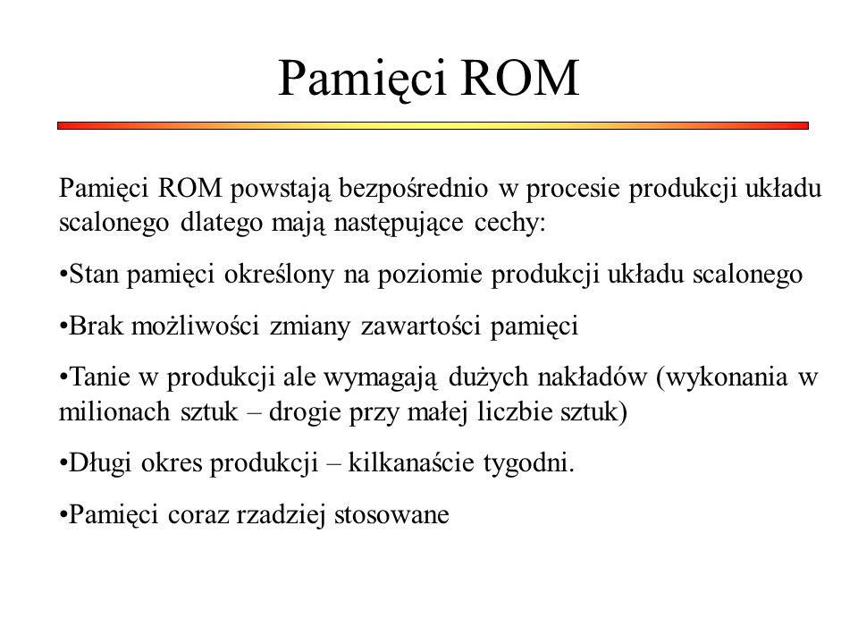 Pamięci ROM Pamięci ROM powstają bezpośrednio w procesie produkcji układu scalonego dlatego mają następujące cechy: Stan pamięci określony na poziomie