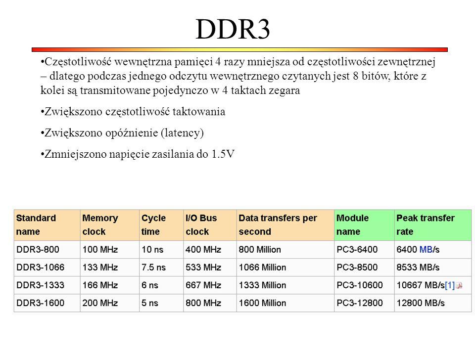 DDR3 Częstotliwość wewnętrzna pamięci 4 razy mniejsza od częstotliwości zewnętrznej – dlatego podczas jednego odczytu wewnętrznego czytanych jest 8 bi