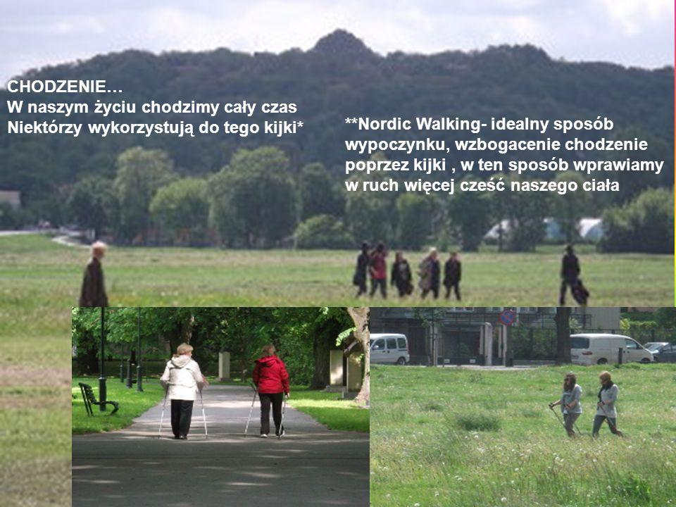 CHODZENIE… W naszym życiu chodzimy cały czas Niektórzy wykorzystują do tego kijki* **Nordic Walking- idealny sposób wypoczynku, wzbogacenie chodzenie