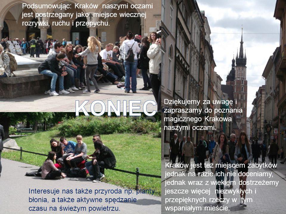 Podsumowując: Kraków naszymi oczami jest postrzegany jako miejsce wiecznej rozrywki, ruchu i przepychu. Interesuje nas także przyroda np. planty błoni
