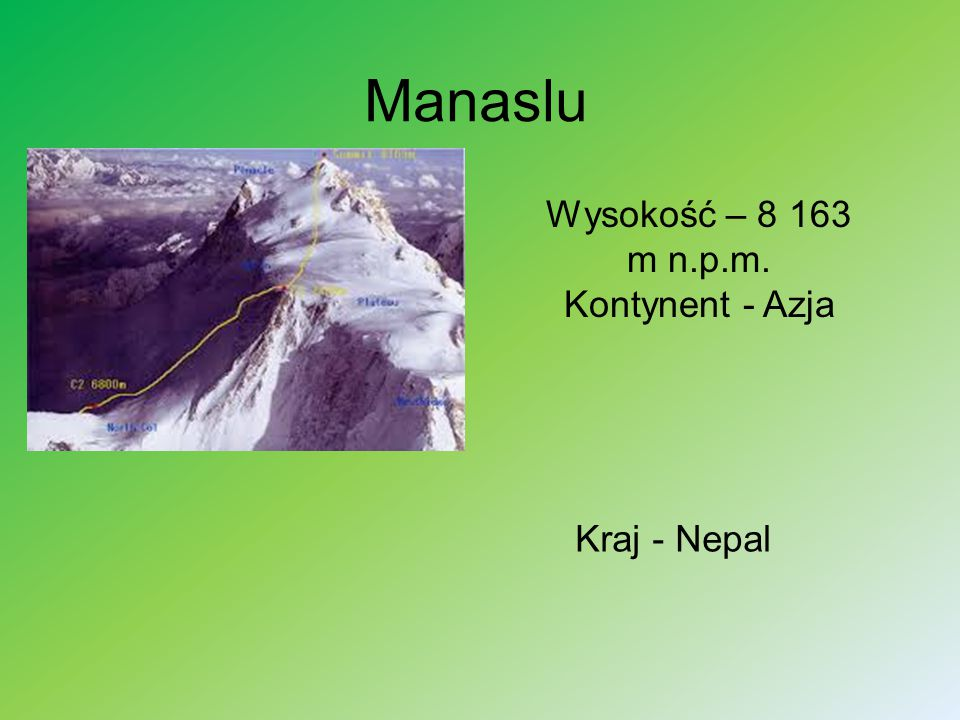 Manaslu Wysokość – 8 163 m n.p.m. Kontynent - Azja Kraj - Nepal