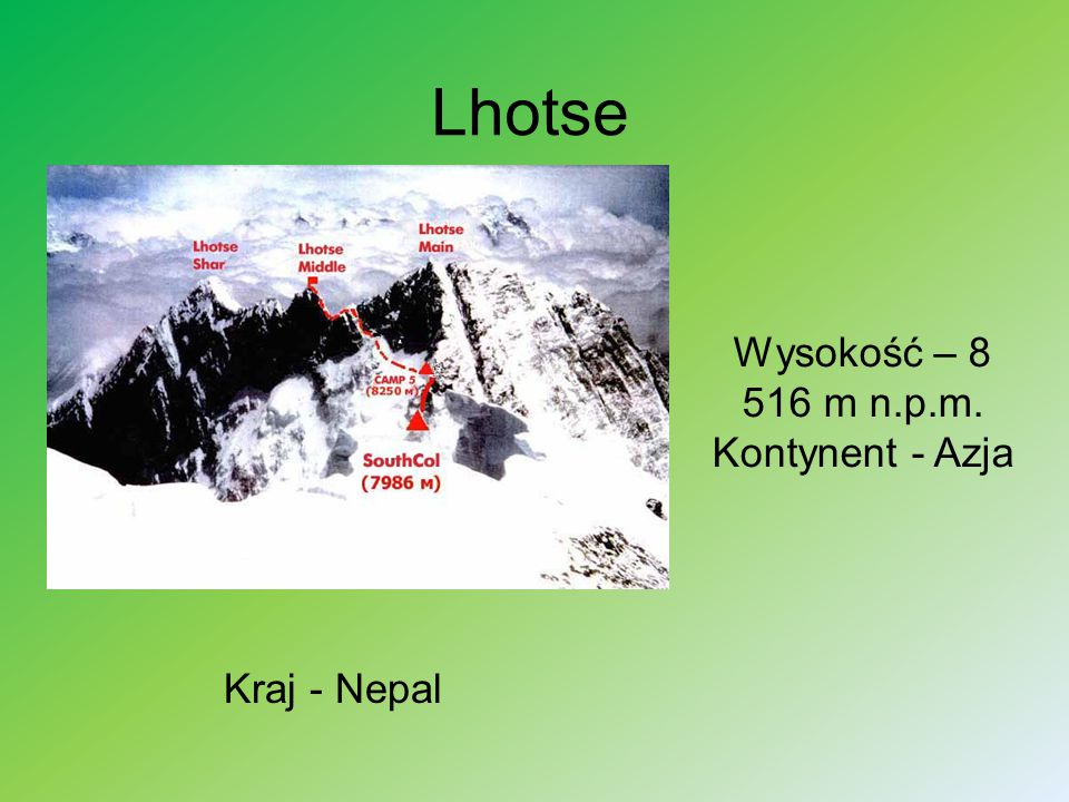Lhotse Wysokość – 8 516 m n.p.m. Kontynent - Azja Kraj - Nepal