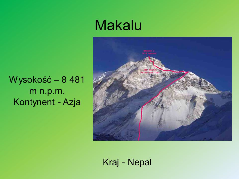 Czo Oju Wysokość – 8 188 m n.p.m. Kontynent - Azja Kraj - Nepal / Tybet