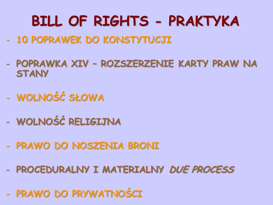 BILL OF RIGHTS - PRAKTYKA -10 POPRAWEK DO KONSTYTUCJI -POPRAWKA XIV – ROZSZERZENIE KARTY PRAW NA STANY -WOLNOŚĆ SŁOWA -WOLNOŚĆ RELIGIJNA -PRAWO DO NOSZENIA BRONI -PROCEDURALNY I MATERIALNY DUE PROCESS -PRAWO DO PRYWATNOŚCI