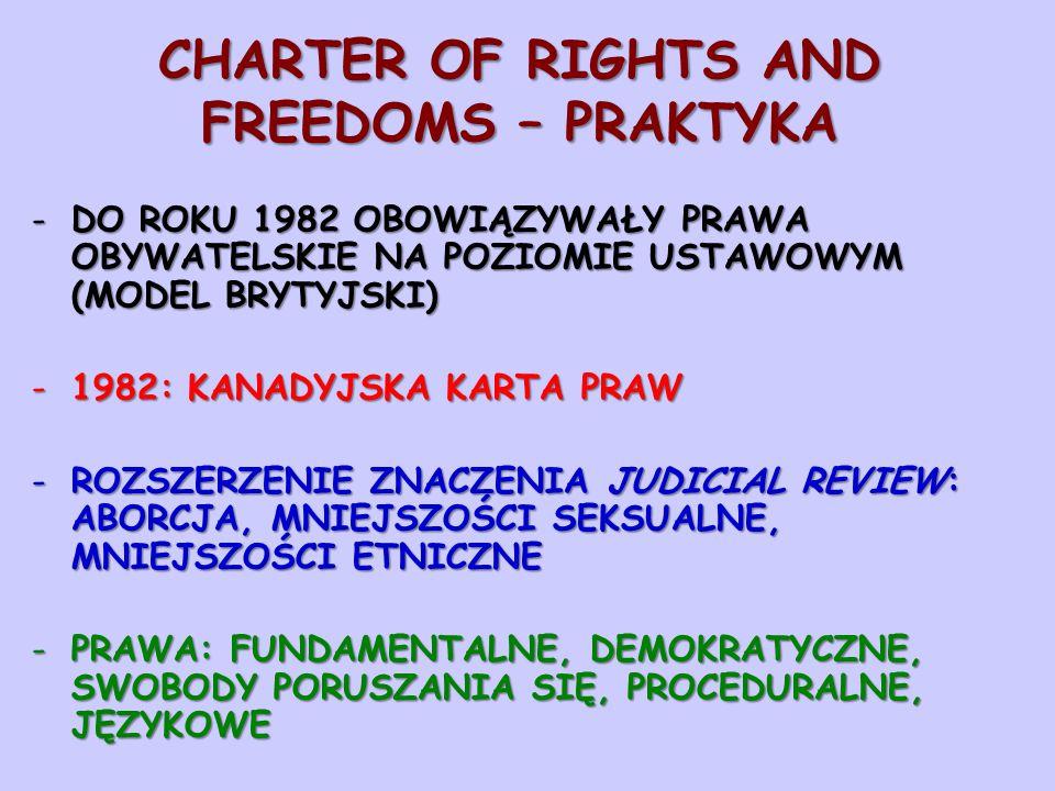 CHARTER OF RIGHTS AND FREEDOMS – PRAKTYKA -DO ROKU 1982 OBOWIĄZYWAŁY PRAWA OBYWATELSKIE NA POZIOMIE USTAWOWYM (MODEL BRYTYJSKI) -1982: KANADYJSKA KARTA PRAW -ROZSZERZENIE ZNACZENIA JUDICIAL REVIEW: ABORCJA, MNIEJSZOŚCI SEKSUALNE, MNIEJSZOŚCI ETNICZNE -PRAWA: FUNDAMENTALNE, DEMOKRATYCZNE, SWOBODY PORUSZANIA SIĘ, PROCEDURALNE, JĘZYKOWE