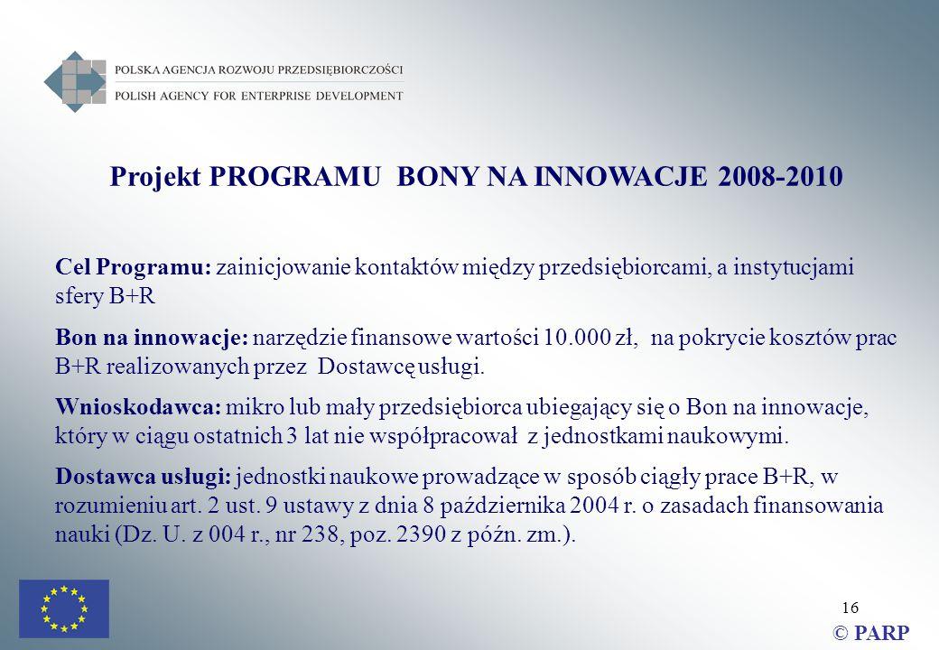 16 Projekt PROGRAMU BONY NA INNOWACJE 2008-2010 Cel Programu: zainicjowanie kontaktów między przedsiębiorcami, a instytucjami sfery B+R Bon na innowacje: narzędzie finansowe wartości 10.000 zł, na pokrycie kosztów prac B+R realizowanych przez Dostawcę usługi.