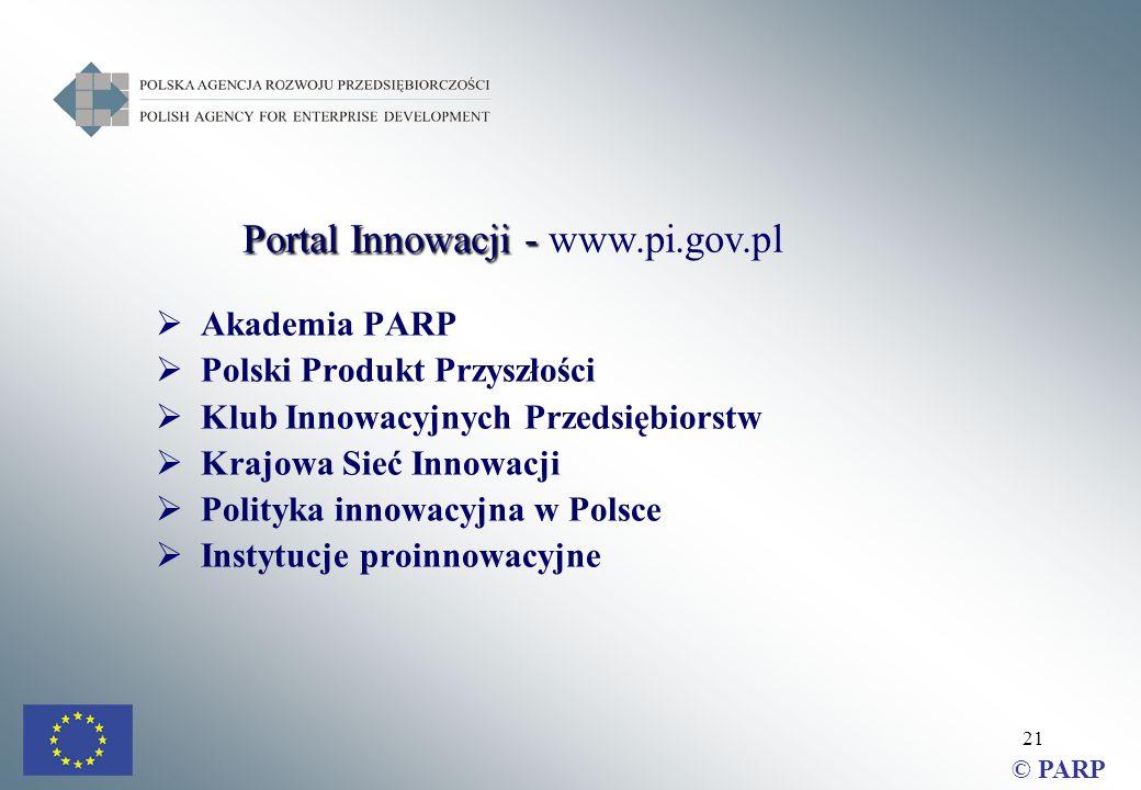 21  Akademia PARP  Polski Produkt Przyszłości  Klub Innowacyjnych Przedsiębiorstw  Krajowa Sieć Innowacji  Polityka innowacyjna w Polsce  Instytucje proinnowacyjne Portal Innowacji - Portal Innowacji - www.pi.gov.pl © PARP