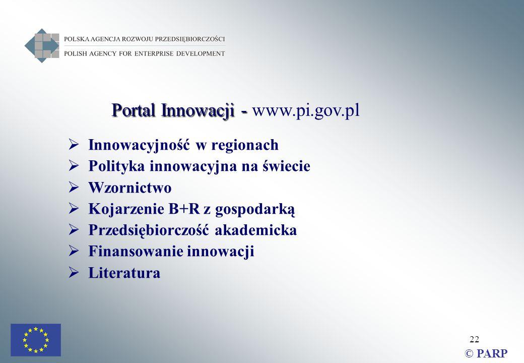 22  Innowacyjność w regionach  Polityka innowacyjna na świecie  Wzornictwo  Kojarzenie B+R z gospodarką  Przedsiębiorczość akademicka  Finansowanie innowacji  Literatura © PARP Portal Innowacji - Portal Innowacji - www.pi.gov.pl