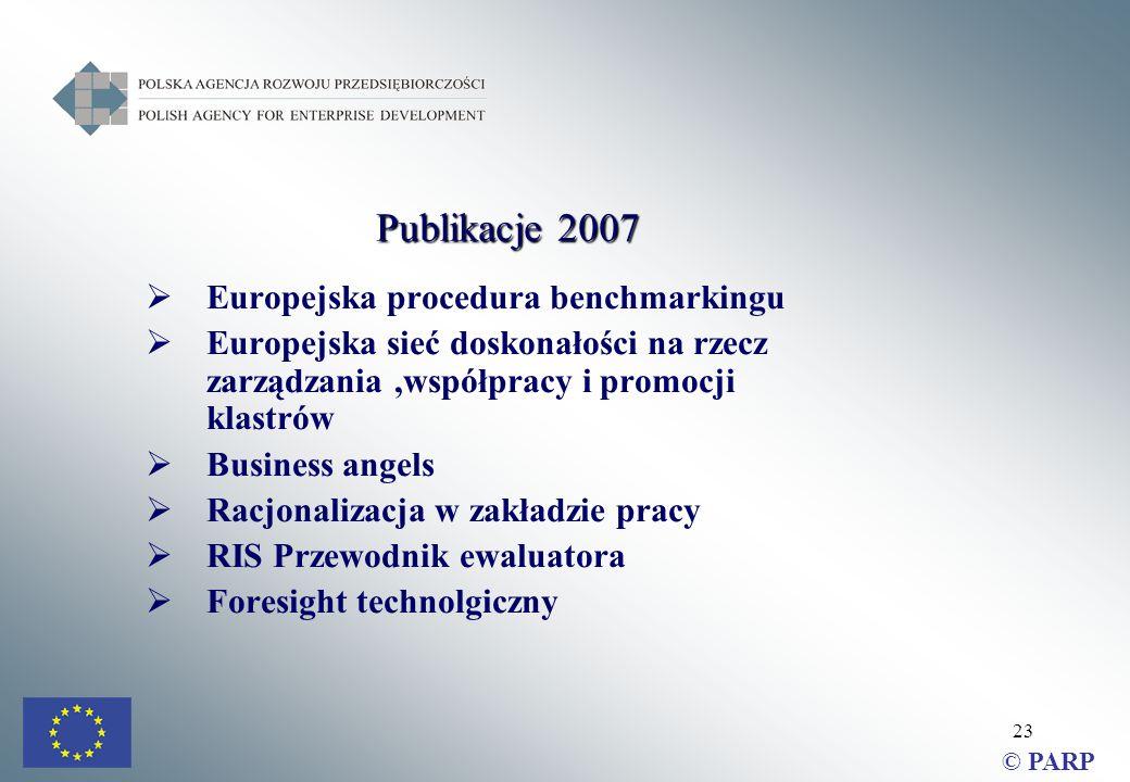 23  Europejska procedura benchmarkingu  Europejska sieć doskonałości na rzecz zarządzania,współpracy i promocji klastrów  Business angels  Racjonalizacja w zakładzie pracy  RIS Przewodnik ewaluatora  Foresight technolgiczny © PARP Publikacje 2007
