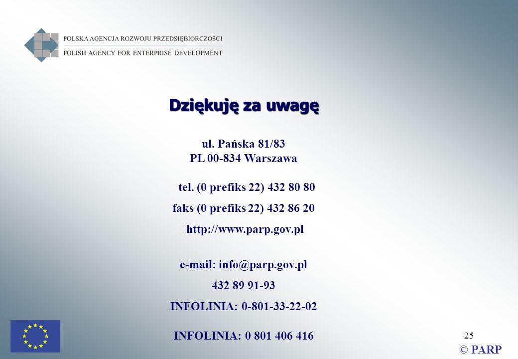25 Dziękuję za uwagę ul. Pańska 81/83 PL 00-834 Warszawa tel.