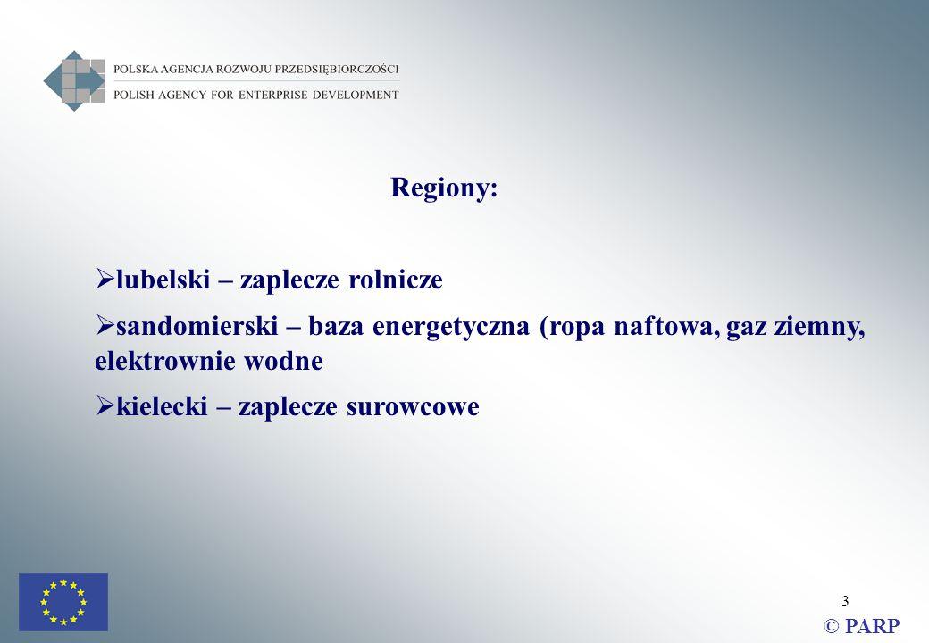 3 Regiony:  lubelski – zaplecze rolnicze  sandomierski – baza energetyczna (ropa naftowa, gaz ziemny, elektrownie wodne  kielecki – zaplecze surowcowe © PARP