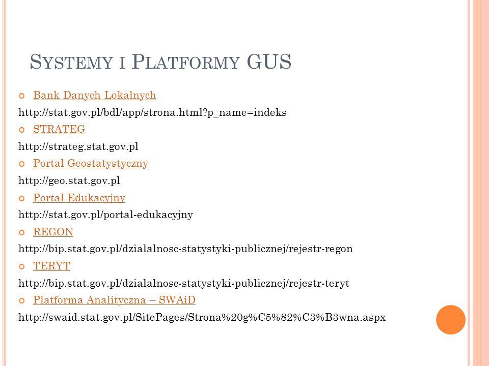 S YSTEMY I P LATFORMY GUS Bank Danych Lokalnych http://stat.gov.pl/bdl/app/strona.html?p_name=indeks STRATEG http://strateg.stat.gov.pl Portal Geostatystyczny http://geo.stat.gov.pl Portal Edukacyjny http://stat.gov.pl/portal-edukacyjny REGON http://bip.stat.gov.pl/dzialalnosc-statystyki-publicznej/rejestr-regon TERYT http://bip.stat.gov.pl/dzialalnosc-statystyki-publicznej/rejestr-teryt Platforma Analityczna – SWAiD http://swaid.stat.gov.pl/SitePages/Strona%20g%C5%82%C3%B3wna.aspx
