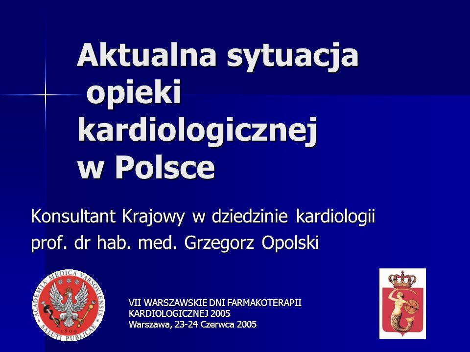 Aktualna sytuacja opieki kardiologicznej w Polsce Konsultant Krajowy w dziedzinie kardiologii prof.