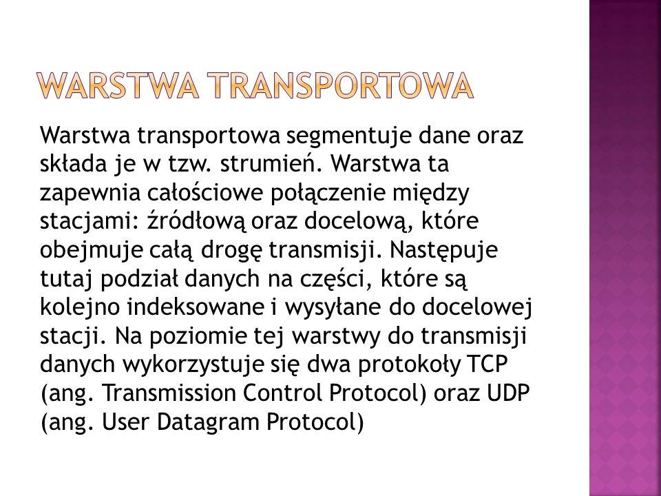 Warstwa transportowa segmentuje dane oraz składa je w tzw. strumień. Warstwa ta zapewnia całościowe połączenie między stacjami: źródłową oraz docelową