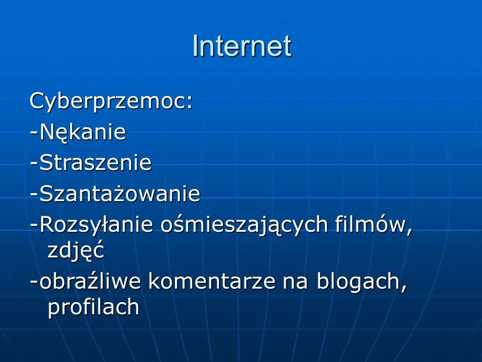 Internet Cyberprzemoc:-Nękanie-Straszenie-Szantażowanie -Rozsyłanie ośmieszających filmów, zdjęć -obraźliwe komentarze na blogach, profilach