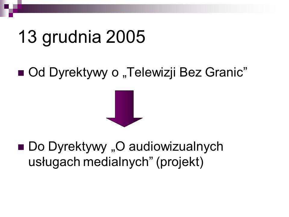 """13 grudnia 2005 Od Dyrektywy o """"Telewizji Bez Granic"""" Do Dyrektywy """"O audiowizualnych usługach medialnych"""" (projekt)"""