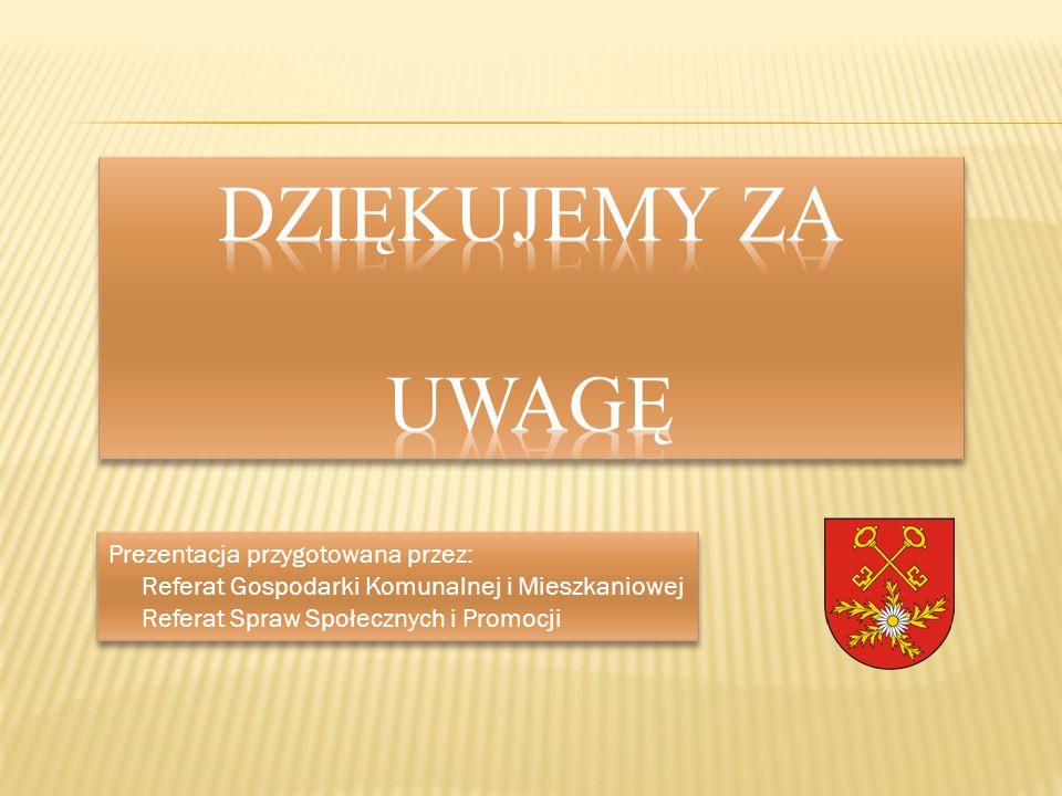 Prezentacja przygotowana przez: Referat Gospodarki Komunalnej i Mieszkaniowej Referat Spraw Społecznych i Promocji Prezentacja przygotowana przez: Ref