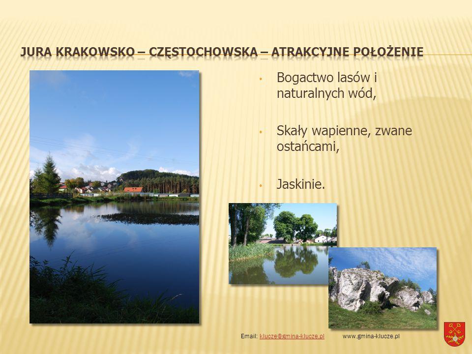 Bogactwo lasów i naturalnych wód, Skały wapienne, zwane ostańcami, Jaskinie. Email: klucze@gmina-klucze.pl www.gmina-klucze.plklucze@gmina-klucze.pl