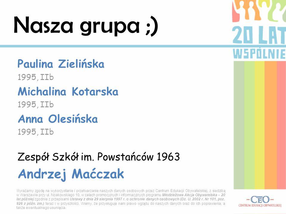 Paulina Zielińska 1995, IIb Michalina Kotarska 1995, IIb Anna Olesińska 1995, IIb Zespół Szkół im.