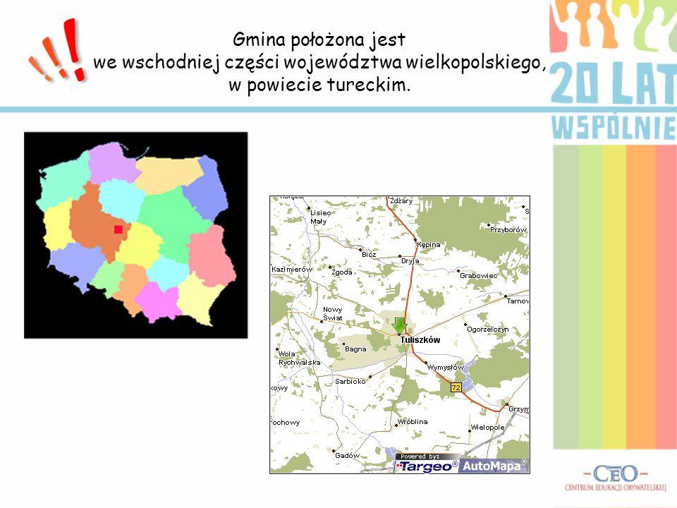 Gmina położona jest we wschodniej części województwa wielkopolskiego, w powiecie tureckim.