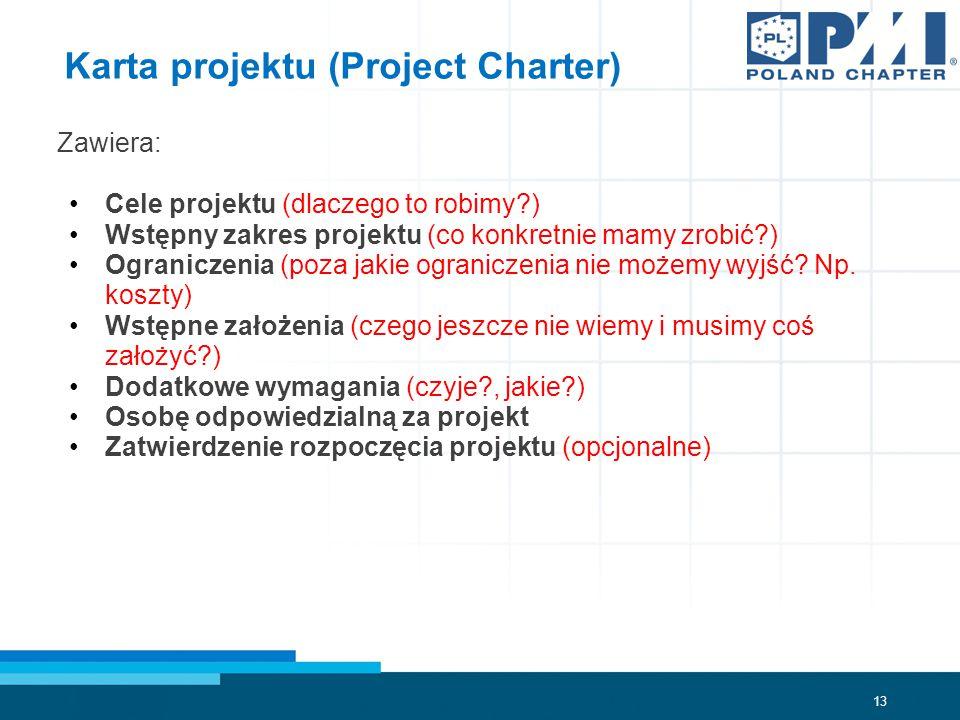 13 Karta projektu (Project Charter) Zawiera: Cele projektu (dlaczego to robimy?) Wstępny zakres projektu (co konkretnie mamy zrobić?) Ograniczenia (poza jakie ograniczenia nie możemy wyjść.
