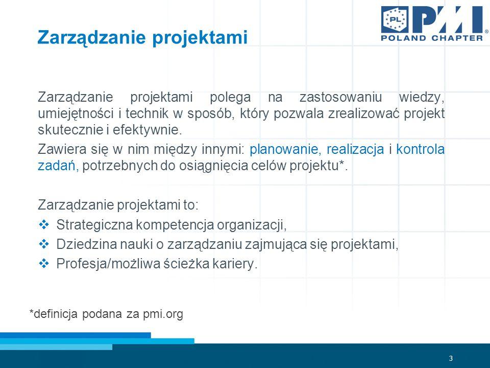3 Zarządzanie projektami polega na zastosowaniu wiedzy, umiejętności i technik w sposób, który pozwala zrealizować projekt skutecznie i efektywnie.