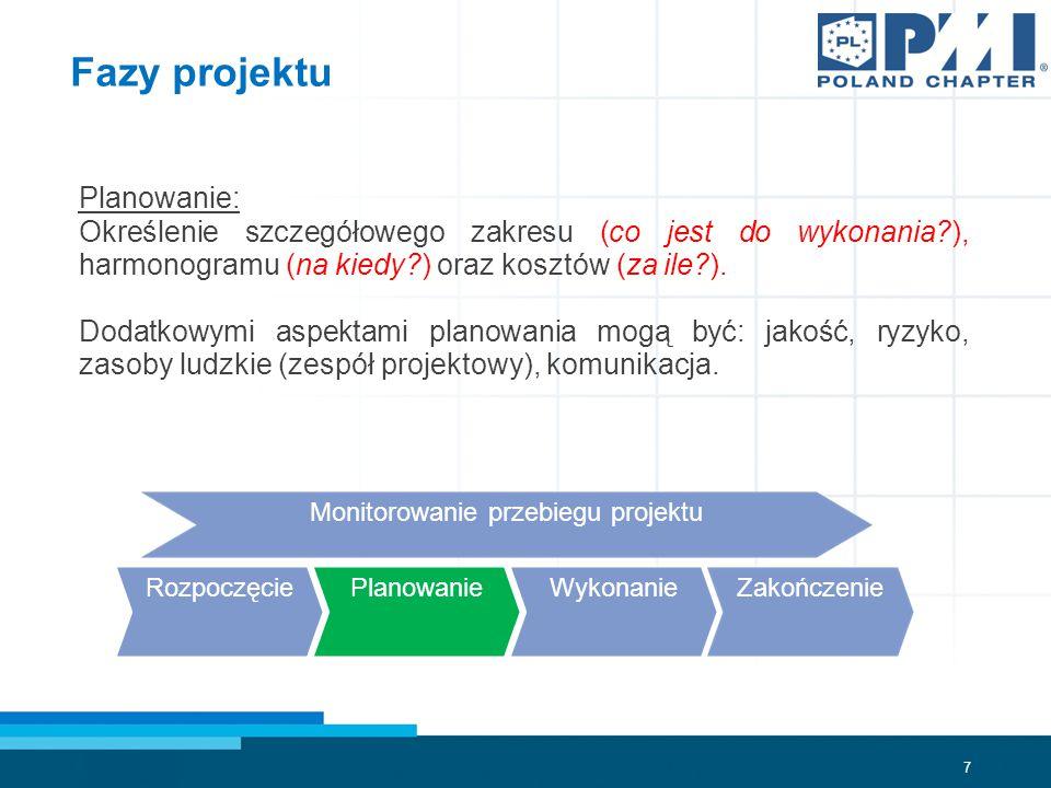7 Fazy projektu Planowanie: Określenie szczegółowego zakresu (co jest do wykonania?), harmonogramu (na kiedy?) oraz kosztów (za ile?).