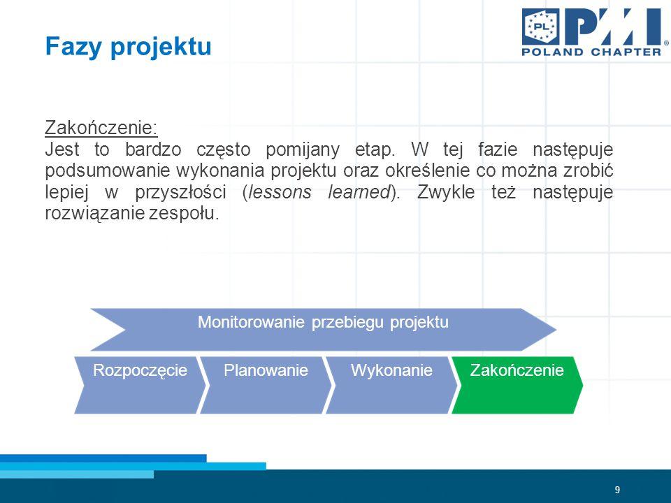 9 Fazy projektu Zakończenie: Jest to bardzo często pomijany etap.