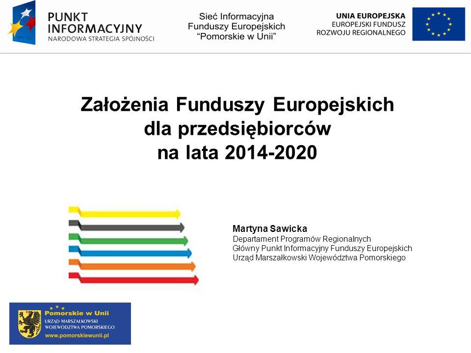 Założenia Funduszy Europejskich dla przedsiębiorców na lata 2014-2020 Martyna Sawicka Departament Programów Regionalnych Główny Punkt Informacyjny Fun
