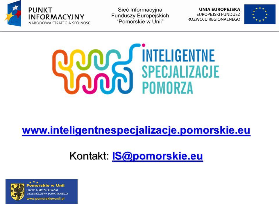 www.inteligentnespecjalizacje.pomorskie.eu Kontakt: IS@pomorskie.eu IS@pomorskie.eu