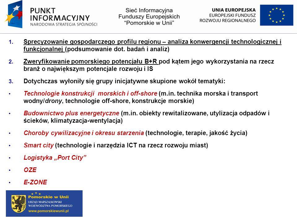 1. Sprecyzowanie gospodarczego profilu regionu – analiza konwergencji technologicznej i funkcjonalnej (podsumowanie dot. badań i analiz) 2. Zweryfikow