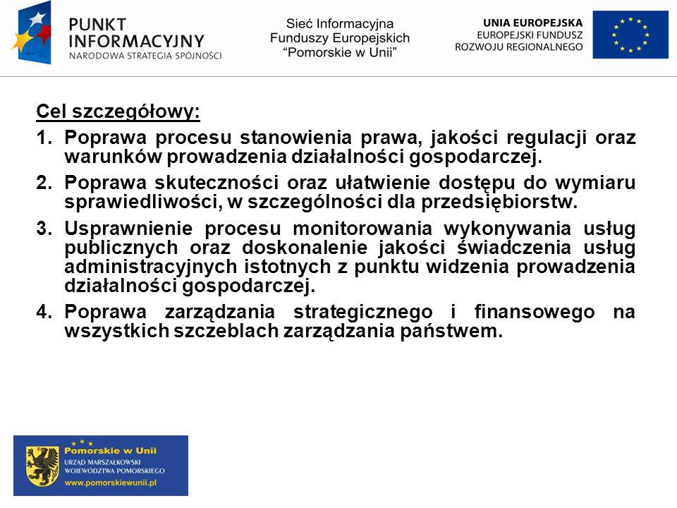 Cel szczegółowy: 1. Poprawa procesu stanowienia prawa, jakości regulacji oraz warunków prowadzenia działalności gospodarczej. 2.Poprawa skuteczności o