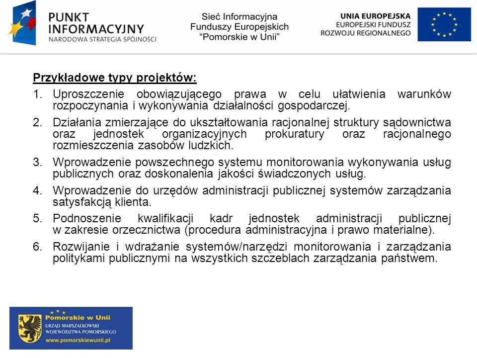 Przykładowe typy projektów: 1. Uproszczenie obowiązującego prawa w celu ułatwienia warunków rozpoczynania i wykonywania działalności gospodarczej. 2.D