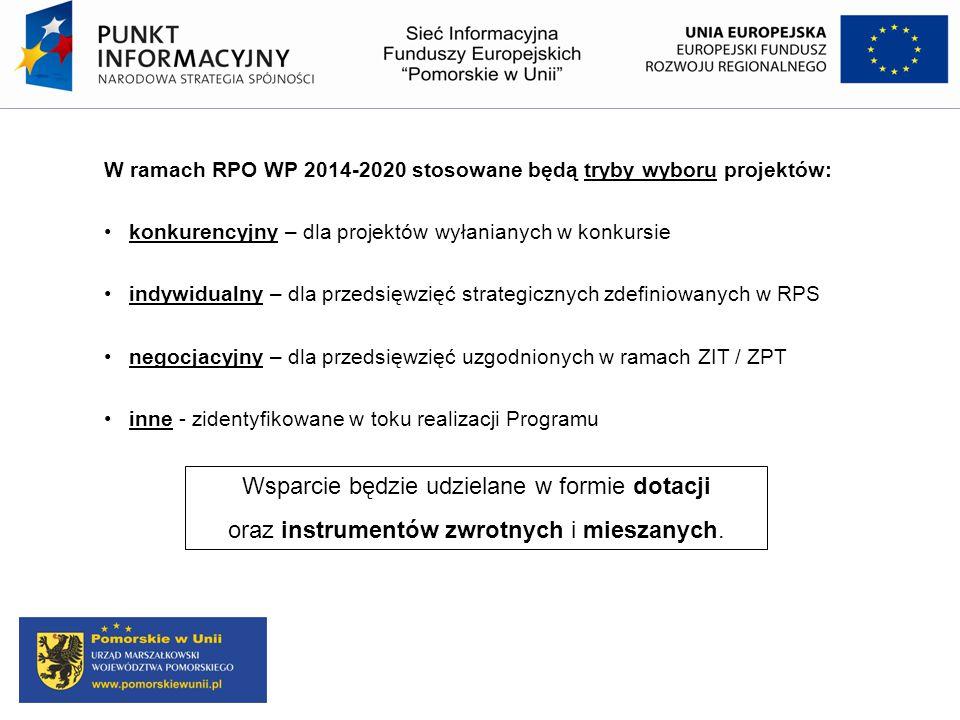 W ramach RPO WP 2014-2020 stosowane będą tryby wyboru projektów: konkurencyjny – dla projektów wyłanianych w konkursie indywidualny – dla przedsięwzię