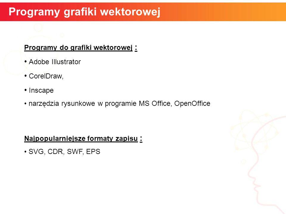 informatyka + 10 Szybkość kątowa Programy grafiki wektorowej Programy do grafiki wektorowej : Adobe Illustrator CorelDraw, Inscape narzędzia rysunkowe w programie MS Office, OpenOffice Najpopularniejsze formaty zapisu : SVG, CDR, SWF, EPS