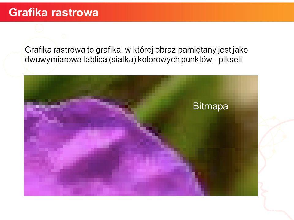 informatyka + 4 Grafika rastrowa Grafika rastrowa to grafika, w której obraz pamiętany jest jako dwuwymiarowa tablica (siatka) kolorowych punktów - pikseli Bitmapa