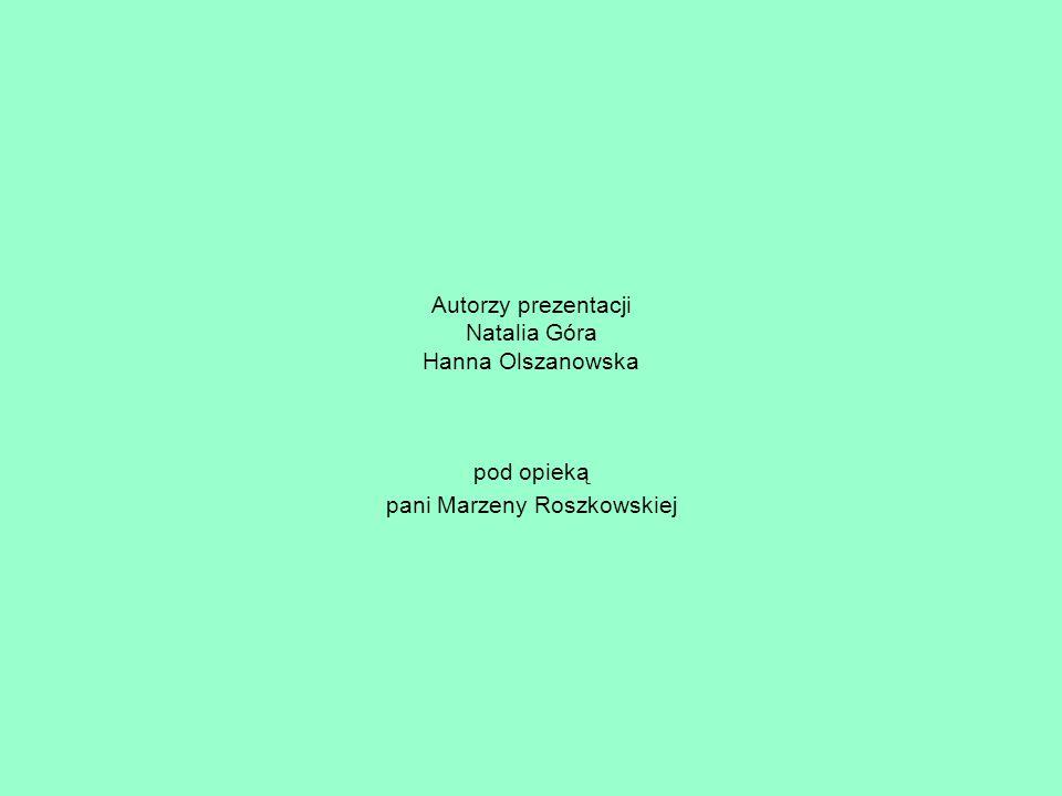 Autorzy prezentacji Natalia Góra Hanna Olszanowska pod opieką pani Marzeny Roszkowskiej
