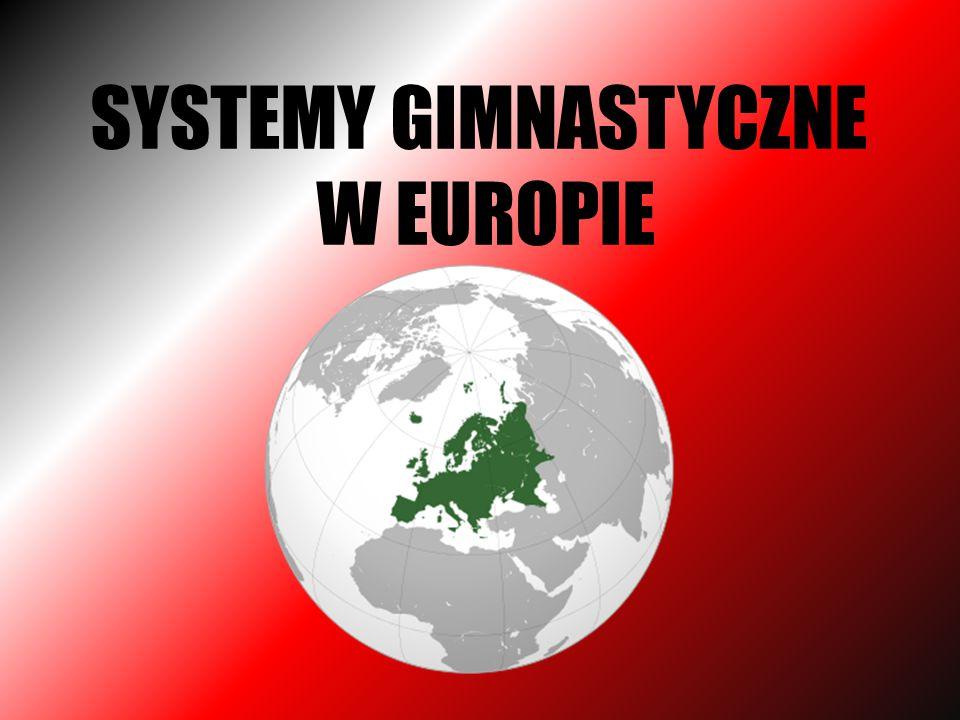 Szkoła niemiecka Niemiecki system gimnastyczny miał na celu hartowanie organizmu, kształtowanie wytrzymałości i siły oraz rozbudzenie wiary w wartość narodu niemieckiego.