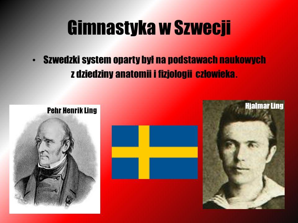 Gimnastyka w Szwecji Szwedzki system oparty był na podstawach naukowych z dziedziny anatomii i fizjologii człowieka. Pehr Henrik Ling Hjalmar Ling