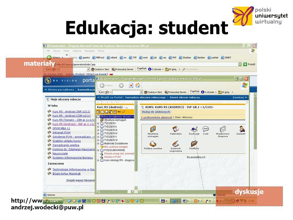 http://www.puw.pl andrzej.wodecki@puw.pl Edukacja: student materiały dyskusje