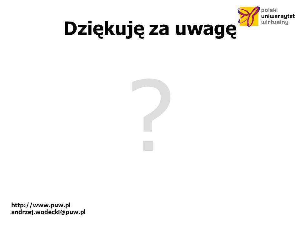 http://www.puw.pl andrzej.wodecki@puw.pl Dziękuję za uwagę ?