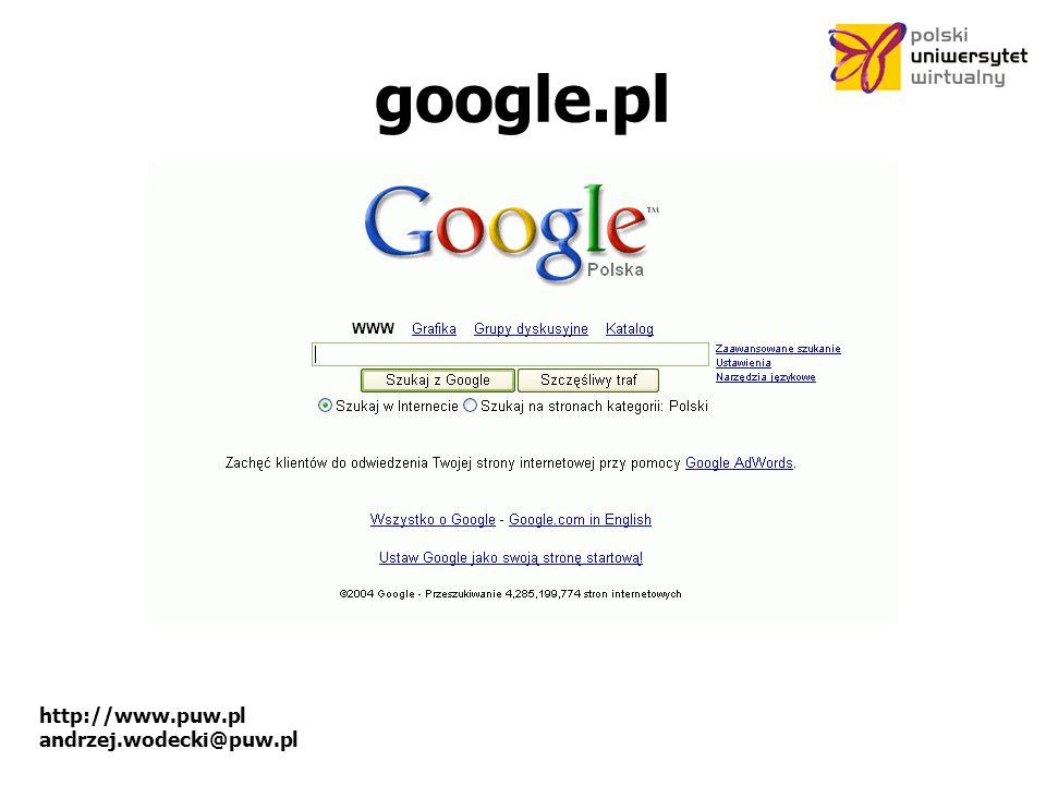 http://www.puw.pl andrzej.wodecki@puw.pl google.pl