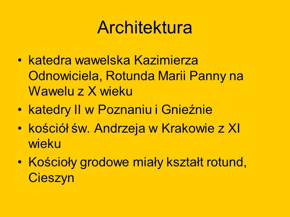 Architektura katedra wawelska Kazimierza Odnowiciela, Rotunda Marii Panny na Wawelu z X wieku katedry II w Poznaniu i Gnieźnie kościół św. Andrzeja w