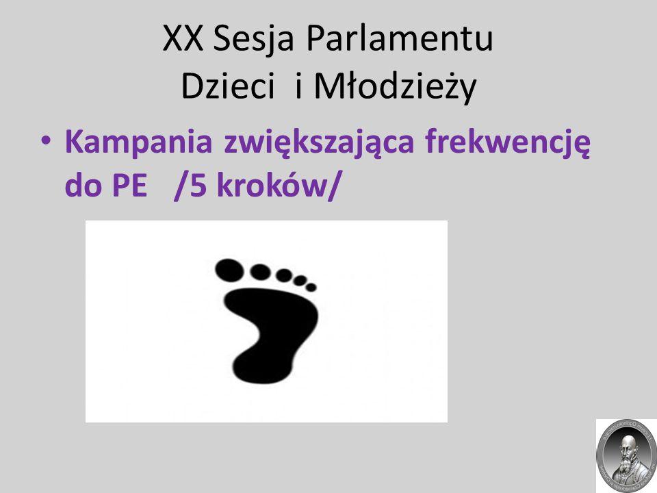 XX Sesja Parlamentu Dzieci i Młodzieży Kampania zwiększająca frekwencję do PE /5 kroków/